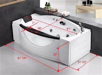 "Free standing JETTED BATHTUB LTA027 67"" x 31"" - Image 4"